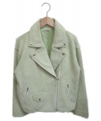 Mila Owen(ミラオーウェン)の古着「ダウンショルダーライダースジャケット」 グリーン