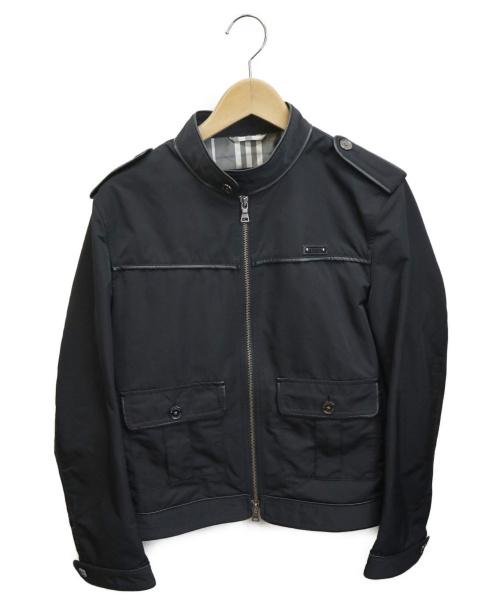 BURBERRY BLACK LABEL(バーバリーブラックレーベル)BURBERRY BLACK LABEL (バーバリーブラックレーベル) レザー切替ジャケット ブラック サイズ:Mの古着・服飾アイテム