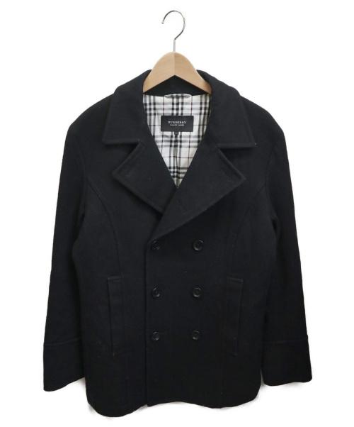 BURBERRY BLACK LABEL(バーバリーブラックレーベル)BURBERRY BLACK LABEL (バーバリーブラックレーベル) メルトンPコート ブラック サイズ:Lの古着・服飾アイテム