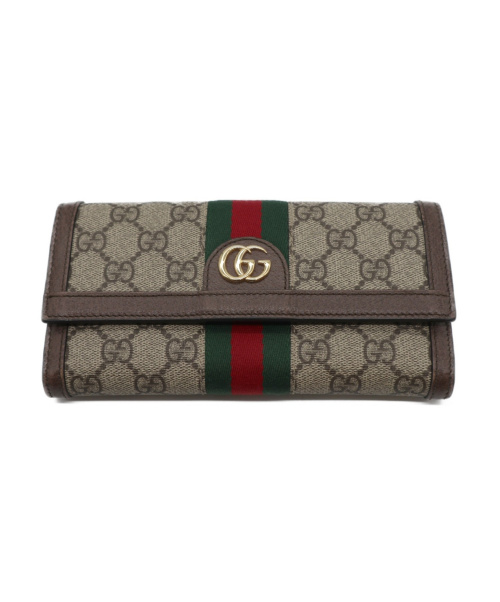 GUCCI(グッチ)GUCCI (グッチ) GG柄長財布 ブラウン 523153の古着・服飾アイテム