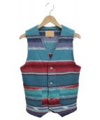 WAPAKONETA(ウォパコネタ)の古着「ネイティブ柄ベスト」 レッド×ブルー