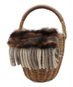 ebagos(エバゴス)の古着「ファー付カゴバッグ」|ブラウン