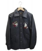 GANGSTERVILLE(ギャングスタビル)の古着「袖レザーアワードジャケット」|ブラック