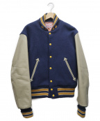 STYLE EYES(スタイルアイズ)の古着「袖レザースタジャン」|ブルー×ベージュ