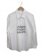 Soe(ソーイ)の古着「REGULARCOLLAR STUDENT SHIRT ST」 ホワイト×ブラック