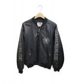 PERSONS FOR MEN(バーソンズ)の古着「袖ロゴレザージャケット」|ブラック