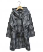SPECCHIO(スペッチオ)の古着「ジャガードチェックフーデッドコート」|ブラック