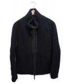THE VIRIDI-ANNE(ザビリシアン)の古着「ネップ加工レザー切替ジャケット」|ネイビー