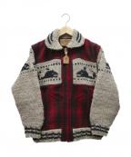 CANADIAN SWEATER(カナディアンセーター)の古着「[古着]再構築カウチンニットジャケット」|レッド