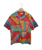 NO BLAND(ノーブランド)の古着「[古着]ヴィンテージメッセージシャツ」|レッド