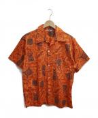 NO BLAND(ノーブランド)の古着「[古着]ヴィンテージアロハシャツ」 オレンジ