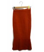 ()の古着「プリーツニットマーメイドスカート」|オレンジ