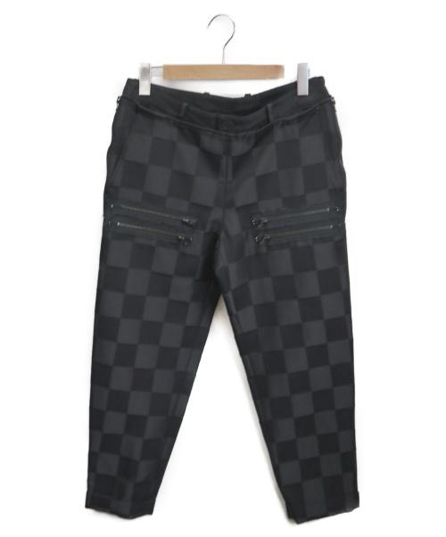 NUMBER (N)INE(ナンバーナイン)NUMBER (N)INE (ナンバーナイン) ジップブロックチェックテーパードパンツ ブラック サイズ:4の古着・服飾アイテム