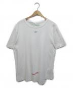 OFFWHITE(オフホワイト)の古着「バックプリントアシンメトリークルーネックTシャツ」 ホワイト