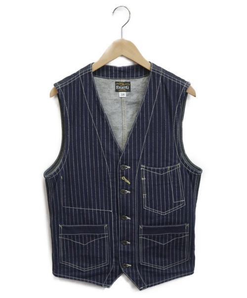 EightG()EIGHTG (エイトジー) ウォバッシュワークベスト ブルー サイズ:38の古着・服飾アイテム
