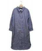 ()の古着「コットンストライプAラインシャツワンピース」 ブルー