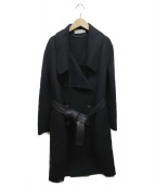 COACH(コーチ)の古着「レザーベルト付ダブルコート」|ブラック