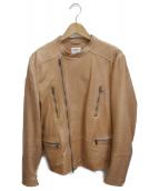 EMMETI(エンメティ)の古着「ラムレザーライダースジャケット」|ブラウン