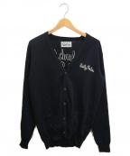WACKO MARIA(ワコマリア)の古着「チェーンロゴ刺繍ニットカーディガン」|ブラック