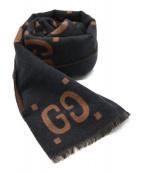 GUCCI(グッチ)の古着「GGジャガードウールスカーフ」|ブラウン×グレー