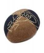 Vivienne Westwood(ヴィヴィアンウエストウッド)の古着「スタッズベレー帽」|ベージュ×ネイビー