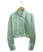 ()の古着「サテンクロップシャツ」 グリーン