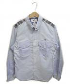 eYe COMME des GARCONS JUNYAWATANABE MAN(アイコムデギャルソンジュンヤワタナベマン)の古着「チェック切替BDシャツ」 ブルー