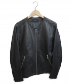 INHERIT(インヘリット)の古着「シープスキンノーカラーレザージャケット」|ブラック