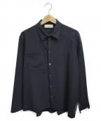 MAISON FLANEUR(メゾン フラネウール)の古着「パターン切替ポリシャツ」 ネイビー