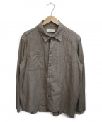 MAISON FLANEUR(メゾン フラネウール)の古着「チェックパターン切替ウールシャツ」 ブラウン