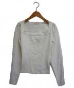 eimy istoire(エイミーイストワール)の古着「オープンデコルテシンプルニット」|ホワイト