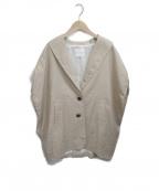 CINOH(チノ)の古着「リネン混オーバーサイズベストジャケット」|ベージュ