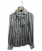 ()の古着「リボン付きストライプシャツ」|グリーン
