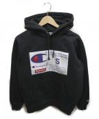 SUPREME×Champion()の古着「ラベルフーデットスウェットシャツ」|ブラック