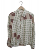 ()の古着「ドットシャツ」|ベージュ×カーキ