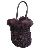 ANTEPRIMA(アンテプリマ)の古着「ファーワイヤーバッグ」|ブラック×ピンク