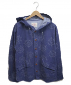 BROOKS BROTHERS Red Fleece(ブルックスブラザーズレッドフリース)の古着「フーデット総柄ジャケット」|ネイビー