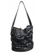 ()の古着「犬刺繍パズルレザーハンドバッグ」 ブラック