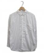 nanamica(ナナミカ)の古着「ビックボタンダウンウィンドストライプシャツ」|ホワイト×ネイビー