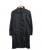 PRADA()の古着「ロゴプレートナイロンステンカラーコート」|ブラック