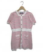 MS GRACY(エムズグレイシー)の古着「スリーブロゴ刺繍ニットワンピース」|ホワイト×レッド