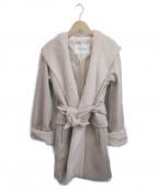 MaxMara()の古着「ウールカシミヤブレンドベルテッドフーデットコート」|ピンク