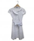MS GRACY(エムズグレイシー)の古着「ストライプラウンドカラー刺繍ブラウスワンピース」|ホワイト×ブルー