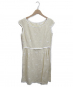 49AV junko shimada()の古着「クラブ刺繍リネンレーヨンノースリーブワンピース」|イエロー