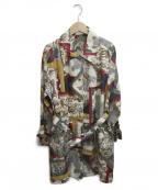 Salvatore Ferragamo()の古着「[古着]スカーフプリントステンカラーコート」|ベージュ