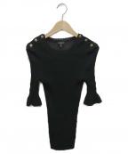 CHANEL()の古着「サイド釦フレアスリーブニット」|ブラック