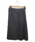 VALENTINO GARAVANI(ヴァレンティノ・ガラヴァーニ)の古着「[古着]プリーツ切替ウールスカート」|グレー