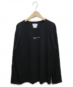 agnes b(アニエスベー)の古着「ロゴロングスリーブカットソー」 ブラック