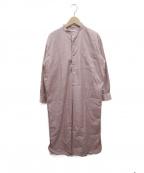 leno(リノ)の古着「バンドカラーシャツワンピース」|ピンク