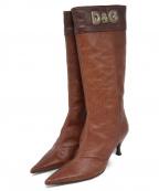 D&G(ドルチェ&ガッバーナ)の古着「型押しロングブーツ」|ブラウン